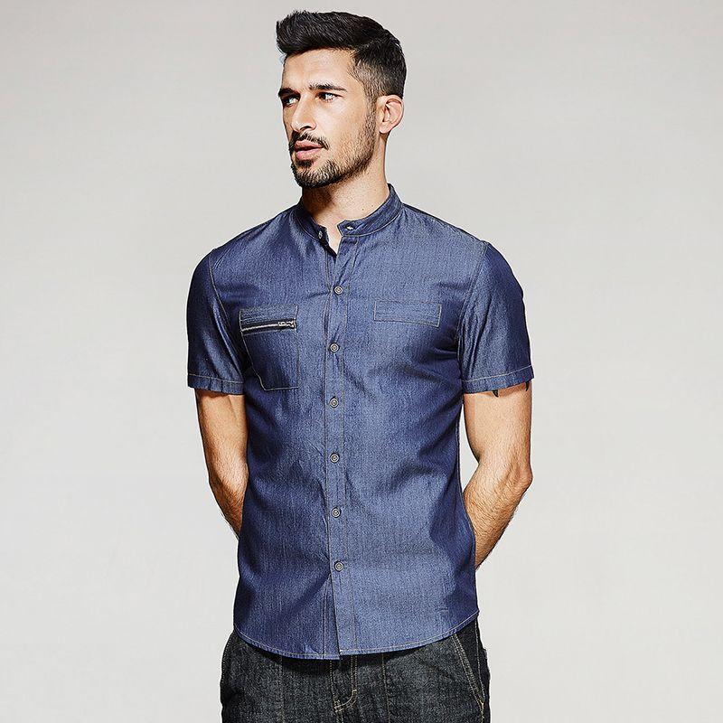 2017 Summer Fashion Mens Denim Shirts Water Washing Blue Zipper ...