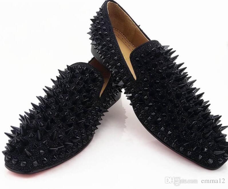 Stilista di marca Black Glitter Spikes Mocassini Scarpe Uomo Mocassini Festa di nozze Maschile Uomo Abito Oxford Scarpe