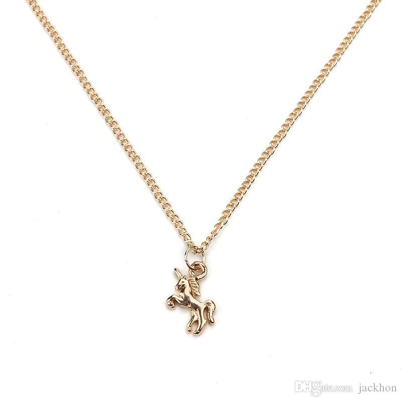 10 шт. сказка Единорог ожерелье животных золото / серебро Единорог кулон цепи ожерелье ювелирные изделия желание карты подарок для женщин