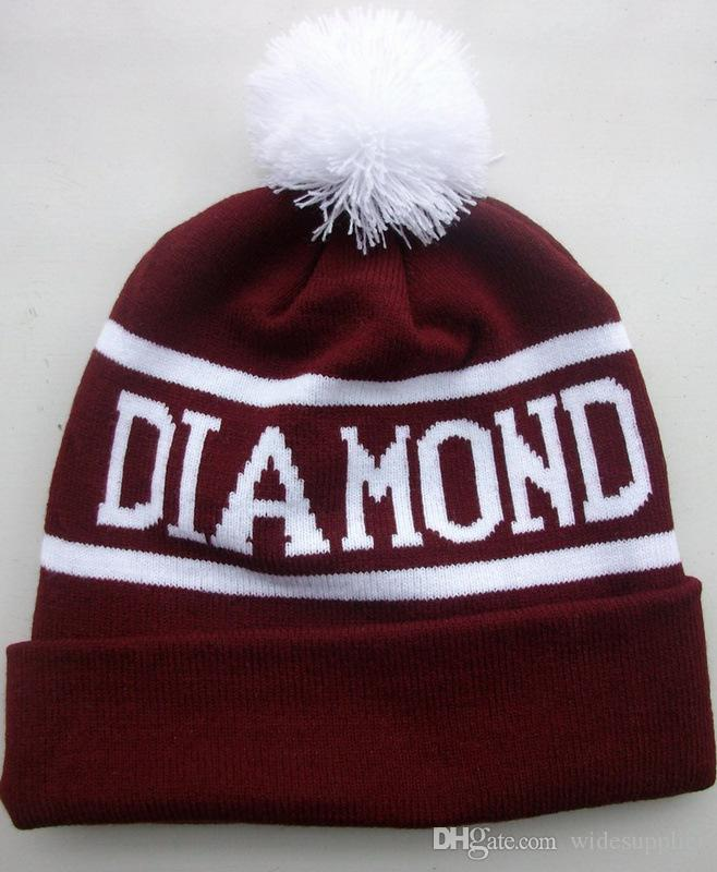 DIAMOND bulky wool hat fashion Beanies knit hat letter three-dimensional embroidery spoof wool hat autumn winter men women warm hats cap