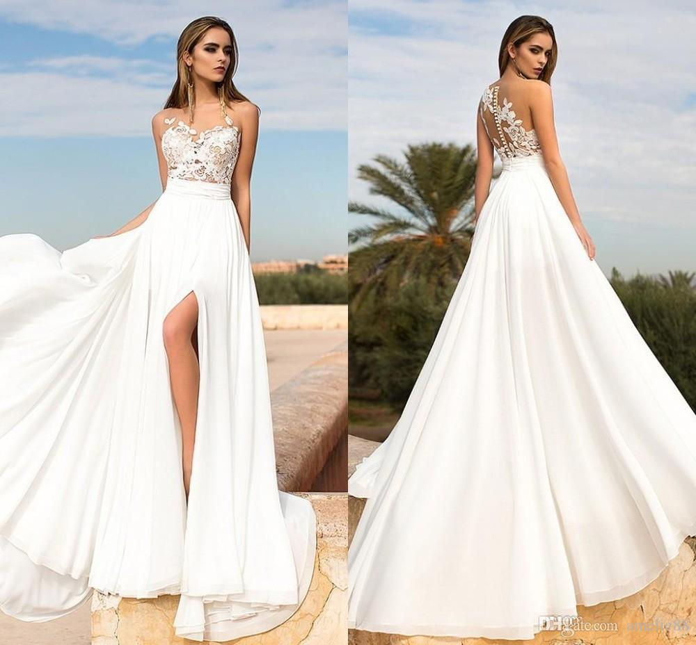 Cheap Wedding Dresses 2017 Lace Wedding Gowns Princess: Discount 2017 Summer Beach Lace Chiffon Wedding Dresses