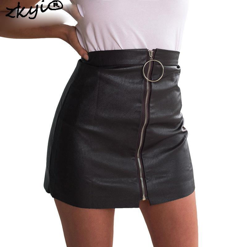 c5d85940c Falda de cuero de cintura alta con cremallera 2016 chritsmas Fiesta mini  falda de lápiz negro Faldas de invierno cortas de la vendimia bottoms de ...
