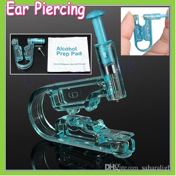 20pcs Women No Pain Ear Piercing Kit Disposable Safe Sterile Body Piercing Gun+Stainless Steel Stud+Alcohol Prep Pad Wholesale