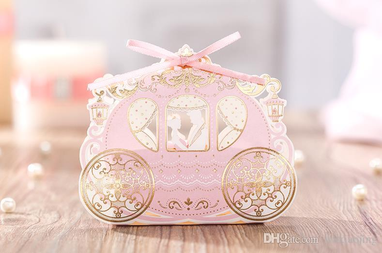 Pink Laser Cut Pumpkin Carriage Wedding Candy Boxes Wedding Favors