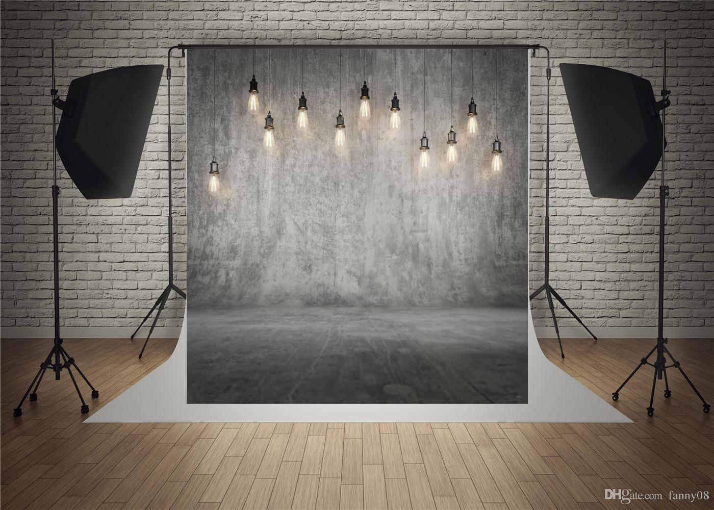 5x7FT Silver Gray Concrete Wall Floor Bulbs Spots Light ...  |Light Photography Background