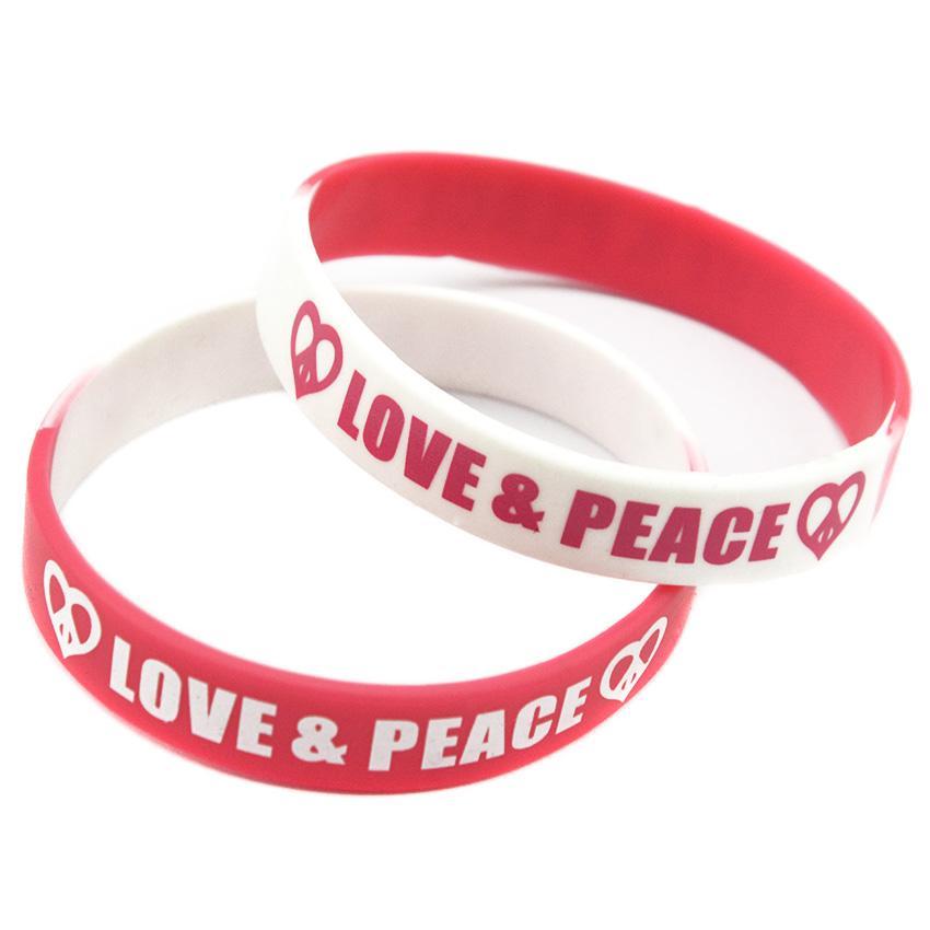 100 قطع الحب والسلام سوار مطاطي سيليكون مطبوعة شعار الهيب هوب نمط مجزأة لون بسيط الديكور