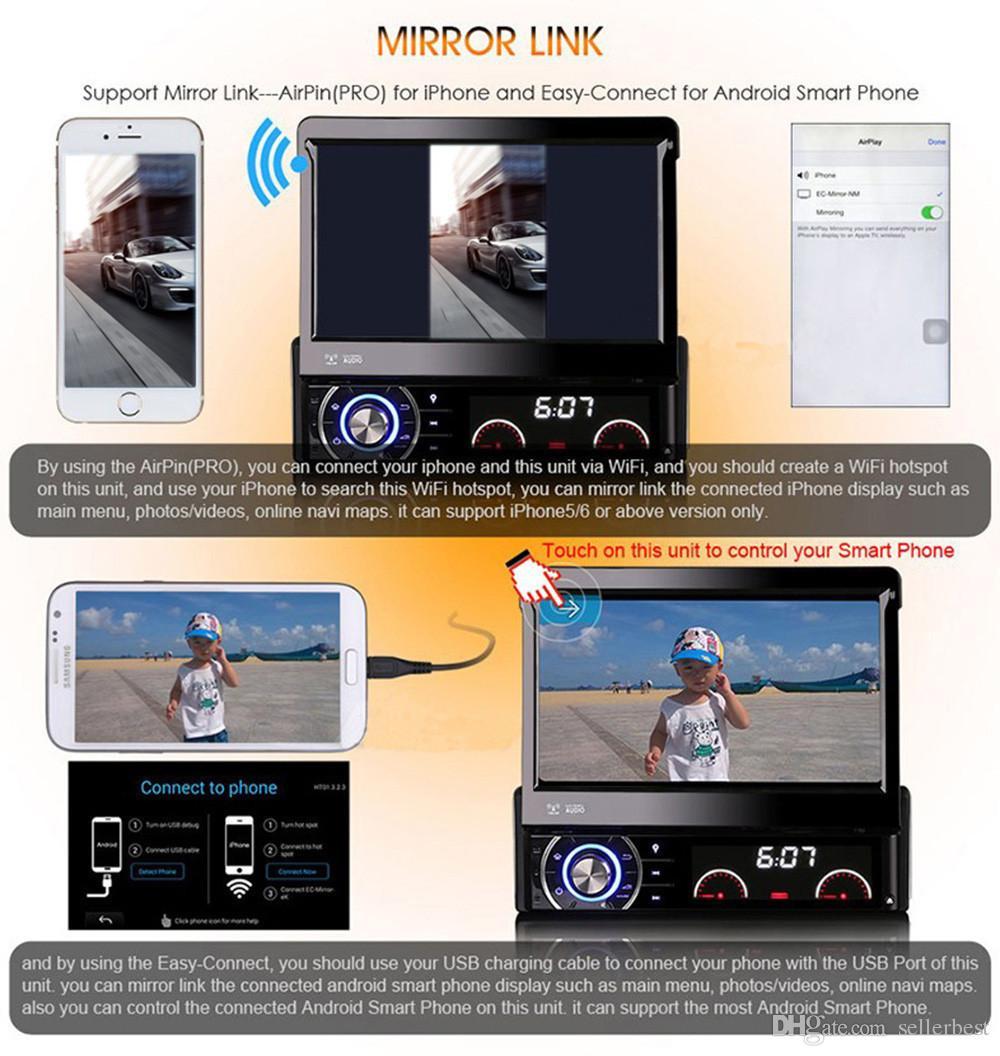 Reproductor de DVD para coche de 7 pulgadas MP5Radio Player Android 4.4.4 GPS WiFi Pantalla táctil Bluetooth Free Mapas gratuitos Del Coche 1 Din AM / FM V2.1 Stereo