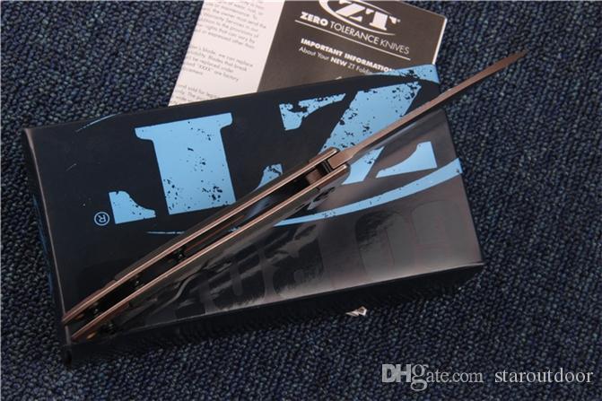 Zero Tolerance ZT 0801CF ZT0801CF D2 piegante tattica fibra di acciaio al carbonio + maniglia cuscinetto a sfere Flipper sopravvivenza Collection Pocket Knife