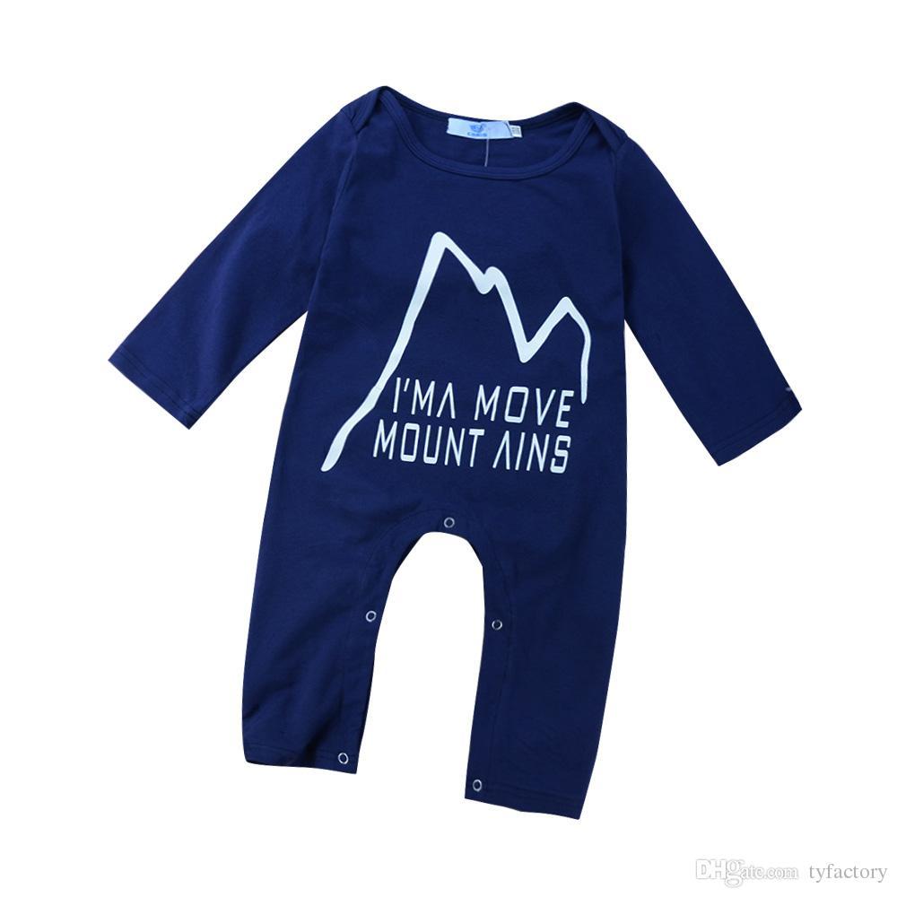 Baby Kleinkinder Kids Buchstabe Print Strampelanzug Lange Ärmel Jumpsuit Body Bekleidung 80