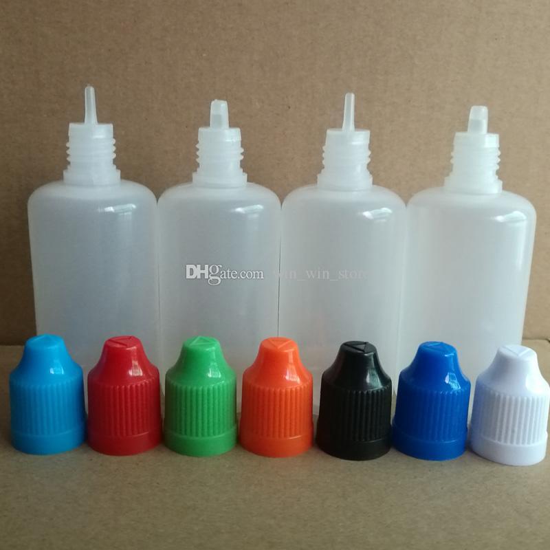 50 мл PE пустые пластиковые бутылки капельницы с красочной крышкой для детей и тонкой/грубой наконечником для бутылок капельницы для жидких игл E Cig Vape