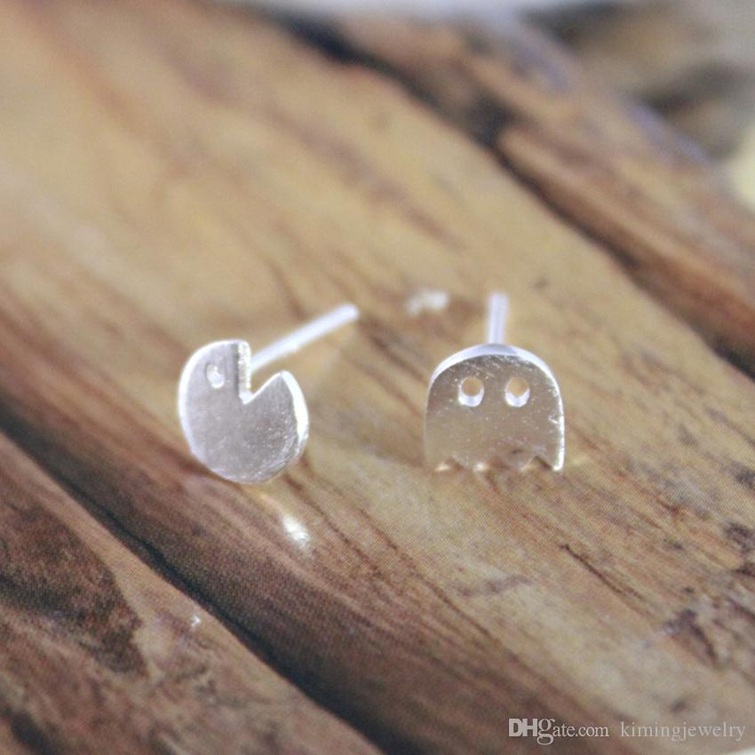 Newest Style Real Pure 925 Sterling Silver Pacman Shape Little Ghost Game Post Stud Earrings pendientes de plata