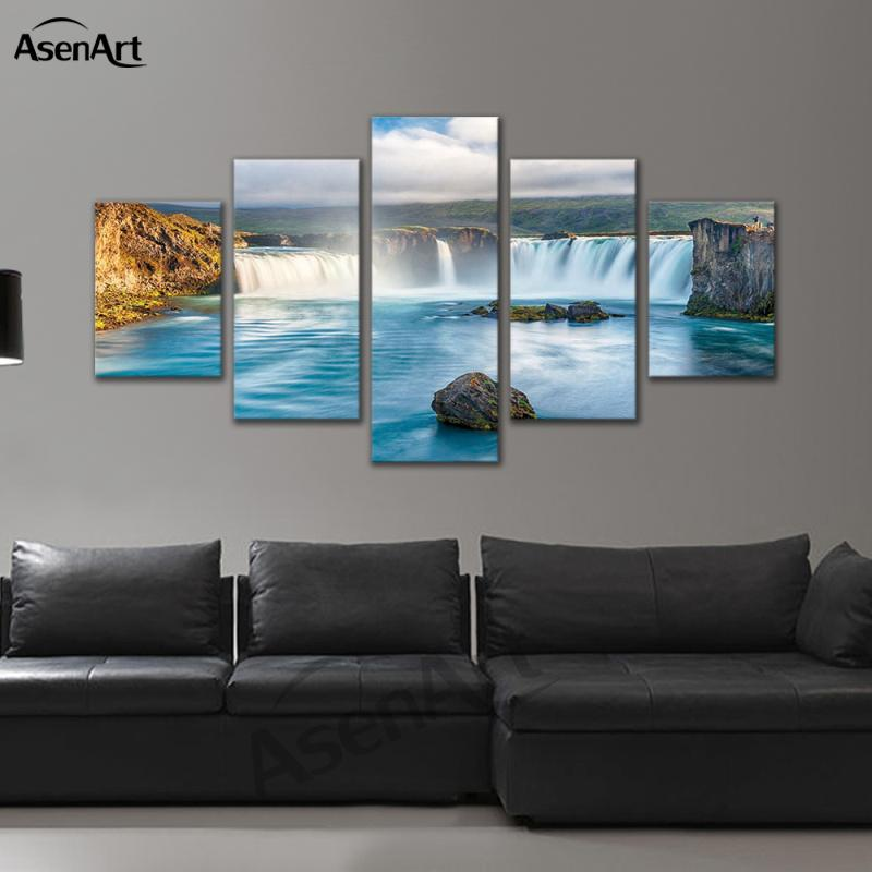 5 Panel Wall Pictures Waterfall Painting for Living Room Nature Landscape on Canvas Print Framed Wall Art with Frame Dropshipping