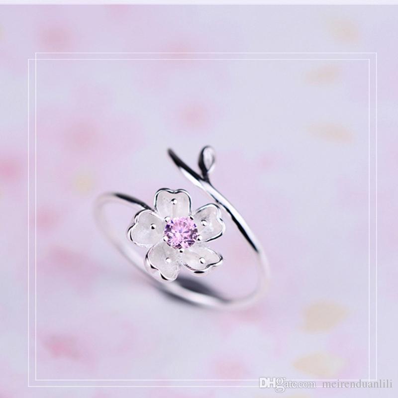 Nuevo diseño de la flor de la cereza anillo romántico anillo de latón para las mujeres damas niñas color púrpura / rosa ajustable envío gratis