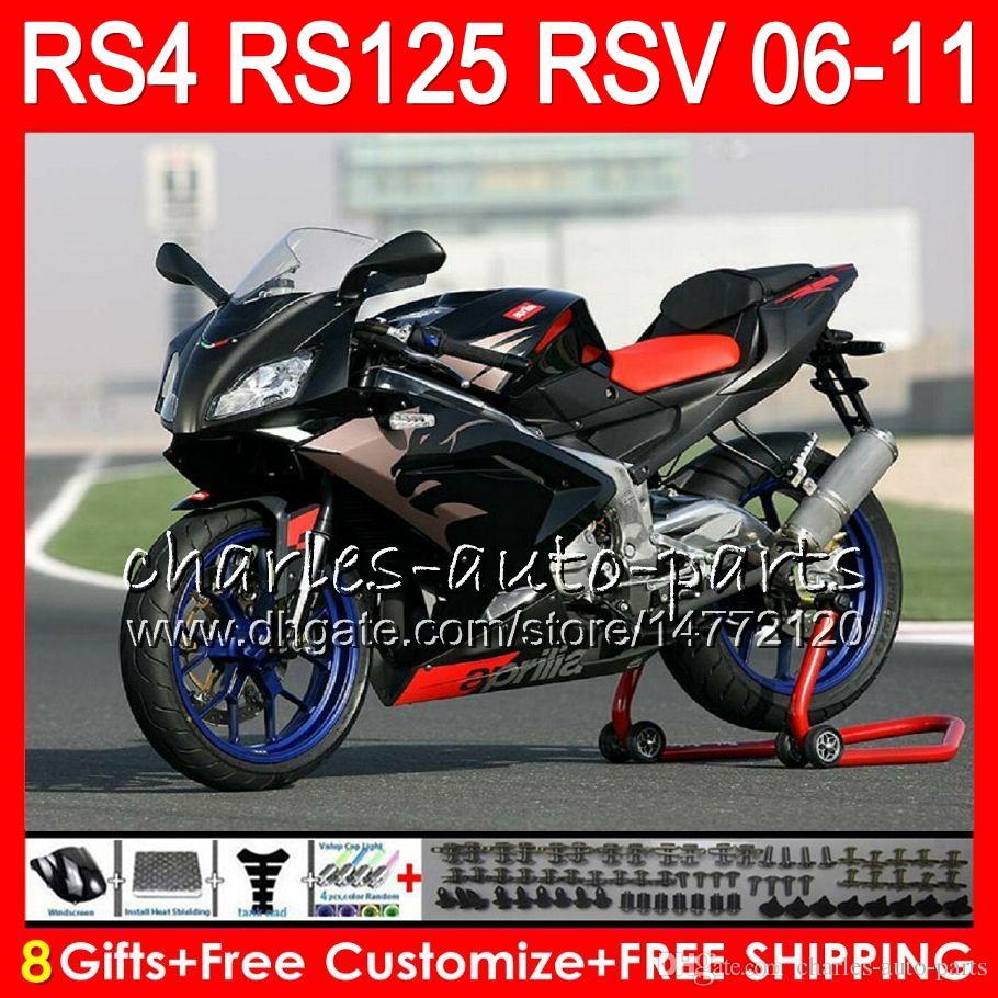 Корпус для Aprilia RS4 RSV125 RS125 06 07 08 09 10 11 RS125R RS-125 70HM1 золотой черный RSV 125 RS 125 2006 2007 2008 2009 2010 2011 обтекатель