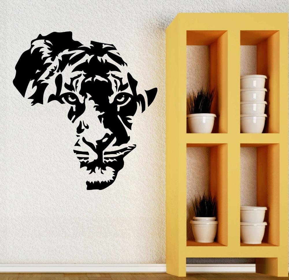 Eco Friendly Wall Decal Home Decor Tiger Animal Africa Tribal Decor ...
