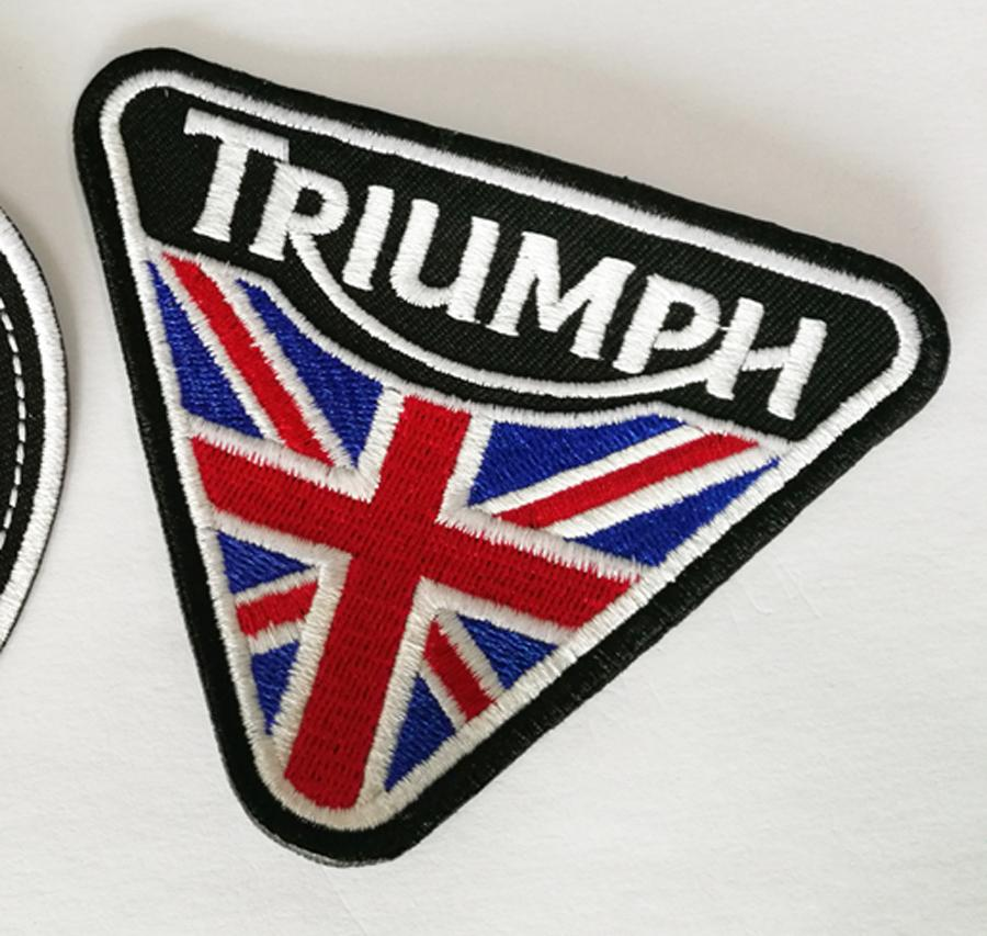 2 PZ / LOTTO M.C 10 * 710 * 8 cm La Bandiera dell'Unione Classica MOTO TRIUMPH Ricamo Patch di Ferro sulla Patch I Vestiti Spedizione Gratuita