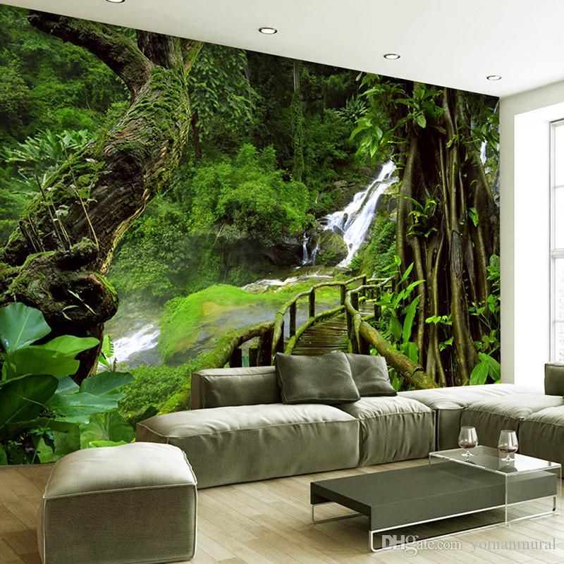 Custom wallpaper murals 3d hd nature green forest trees rocks photography background wall painting living room sofa photo mural pc desktop wallpaper pc