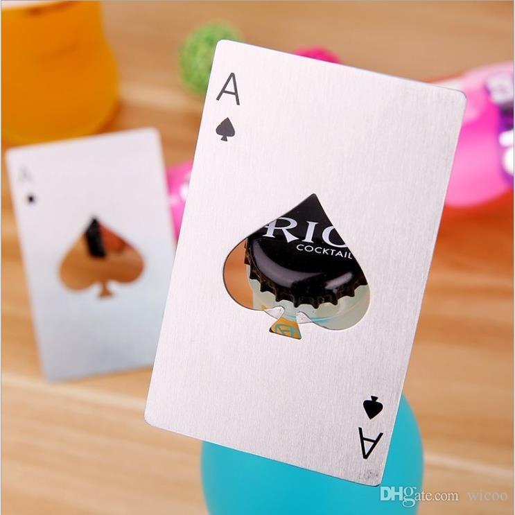 5 pçs / set cartão de poker inteligente ás de espadas bar cerveja soda tampa de garrafa abridor de aço inoxidável