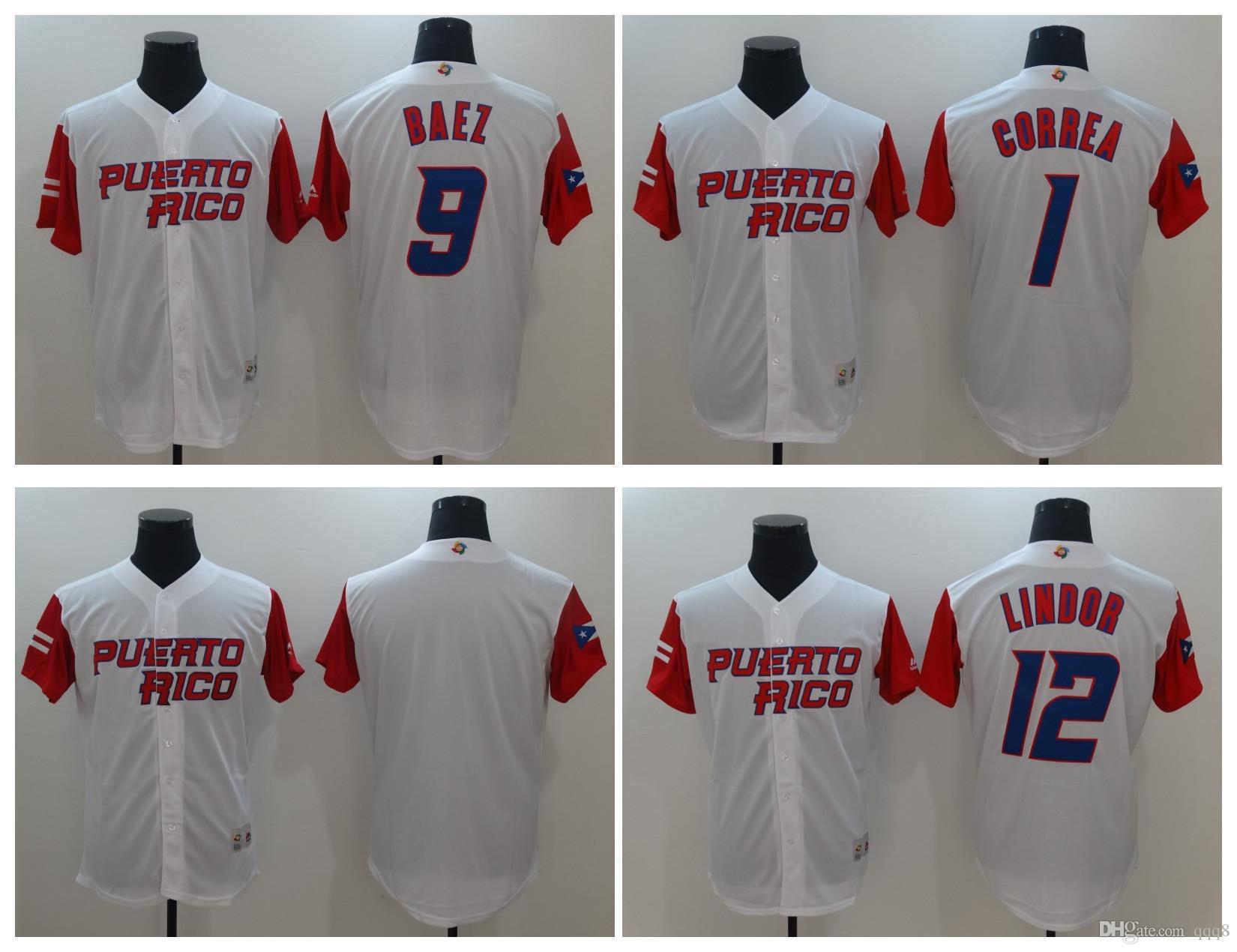 c68d901057b 2017 Puerto Rico Baseball 9 Javier Baez 12 Francisco Lindor 1 Carlos Correa  4 Yadier Molina 2017 MenS ...