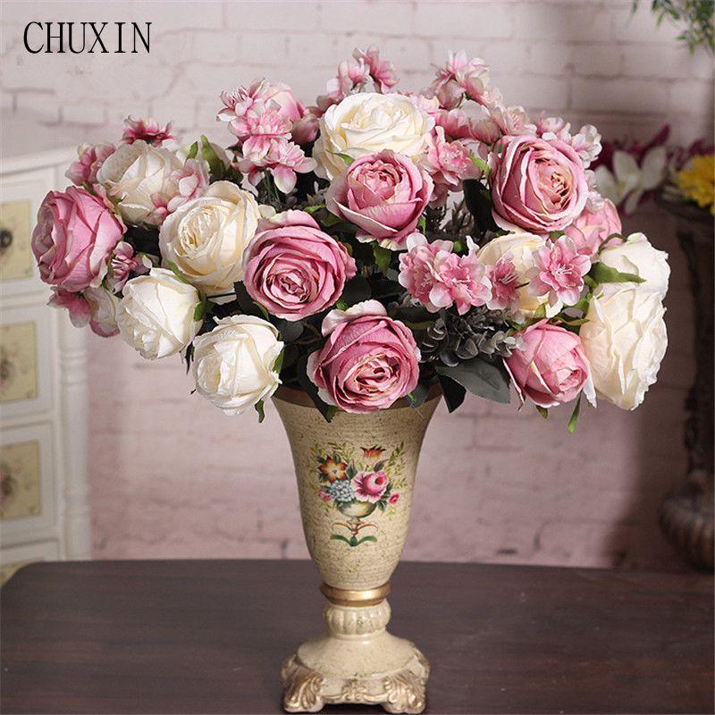 Silk Rose Flower Bouquet 13 Heads Simple Generous European Style ...