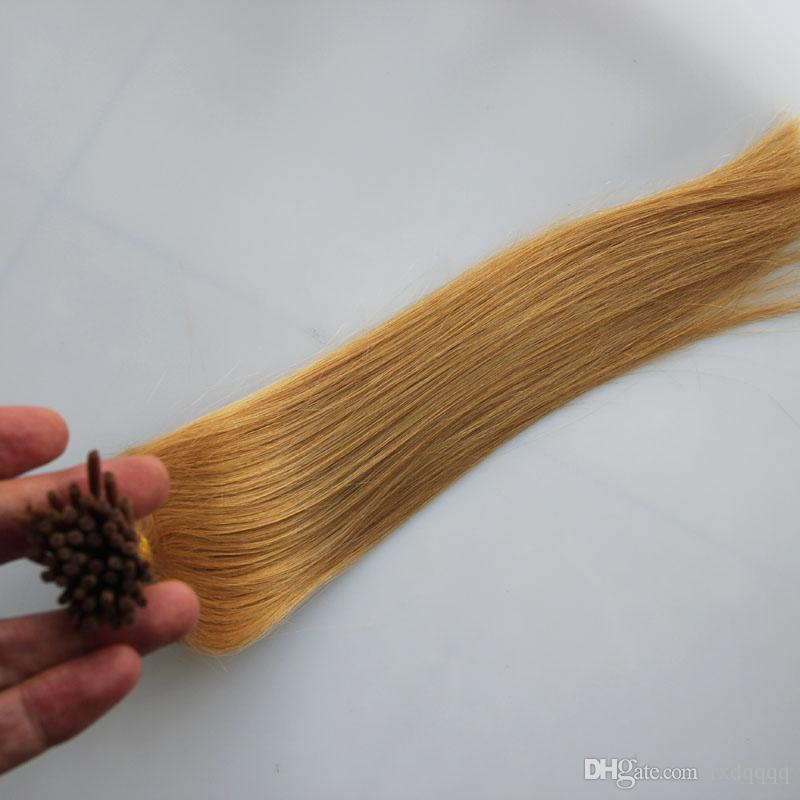 #27 Strawberry Blonde keratin stick tip human hair extensions 50g pre bonded hair extensions i tip 50 strand