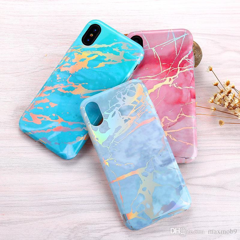Heißer Verkauf Laser TPU Stein Marmorzelle Mobiltelefonkasten für iphone 12 mini 11 pro xs max xr x 8 7 6s plus blaufüberzogene Abdeckung