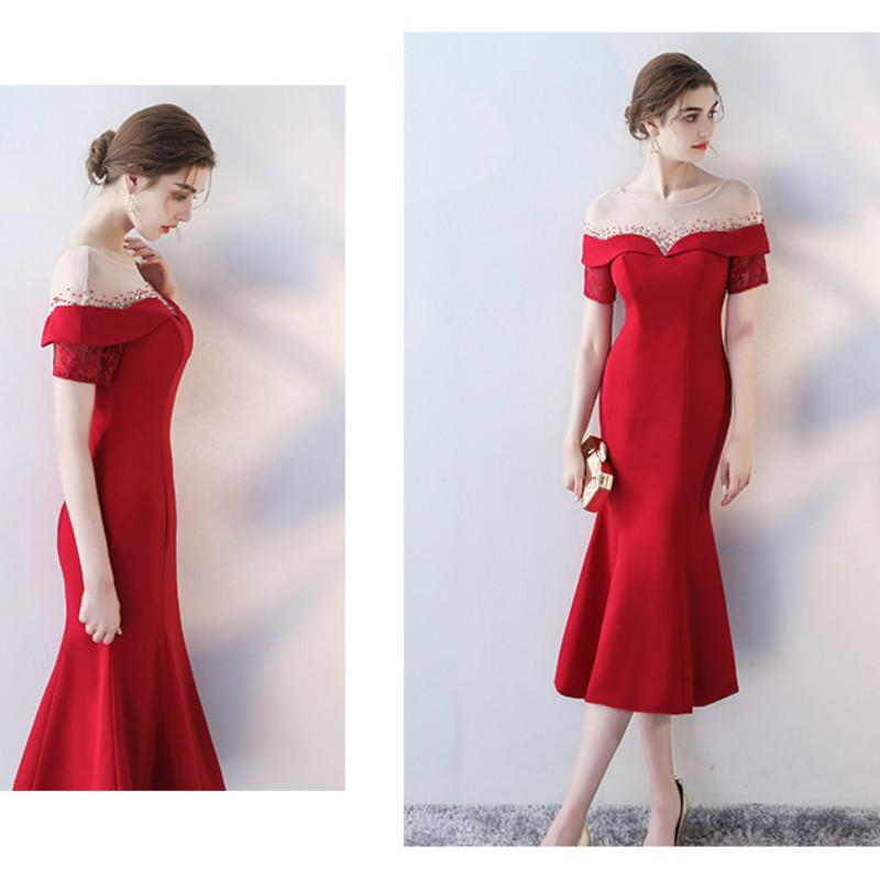 Evening Dress Elegant Wine Red Scoop Neck Short Sleeves Zipper Back ...