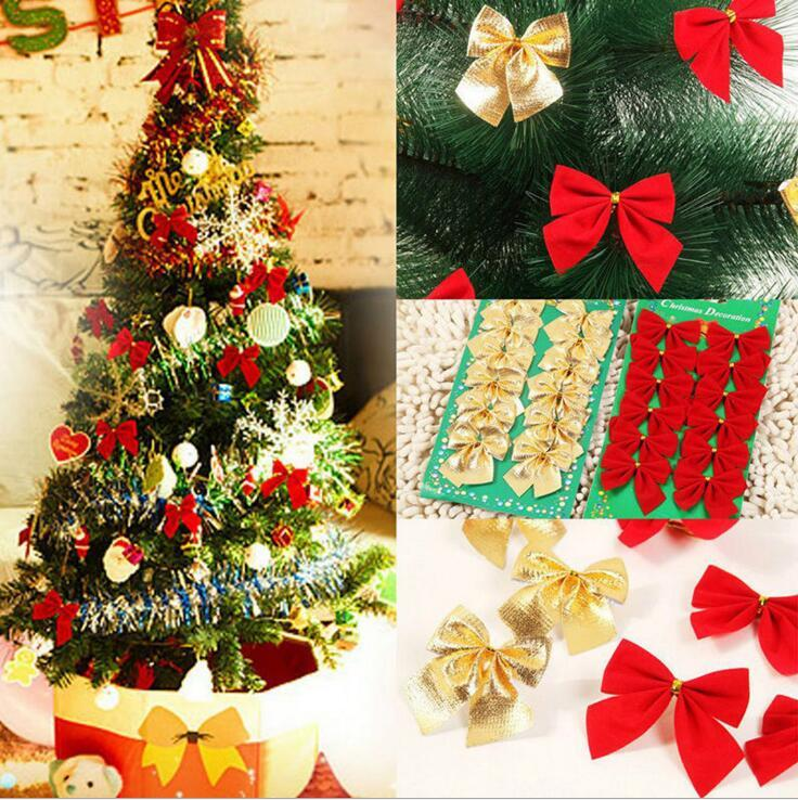 Christmas Tree Decorations Red Golden Silver Color Bow Bowknot Christmas Decorations for Tree Xmas Ornaments for Home