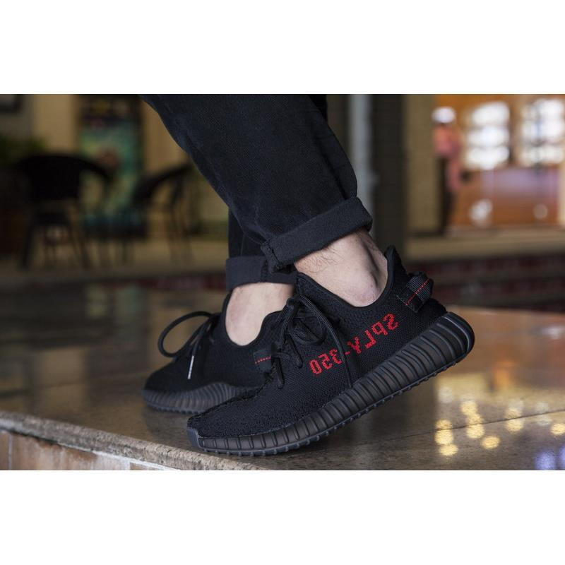 PERFECT KANYE SHOES CP9652 350 BOOST V2 BLACK RED COLOR, NEW SPLY-350 MEN WOMEN SHOES TRUE BOOST WITH BOX KIDS 350V2 FOOTWEAR SIZE12
