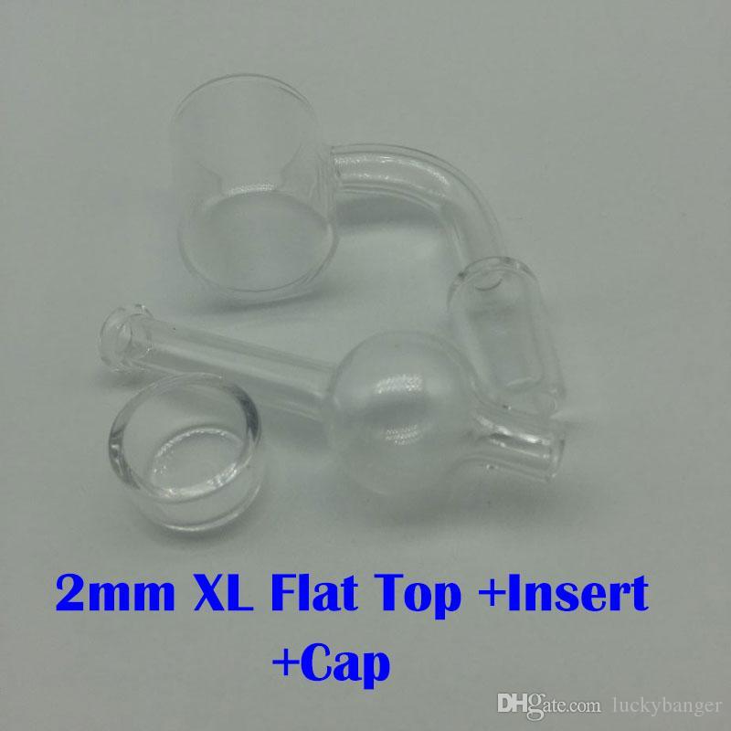 2mm XL Flat Top Quarz Banger Nails 10mm 14mm 18mm klar Joint mit Glas Carb Kappe Für Glas Bongs Öl Rigs