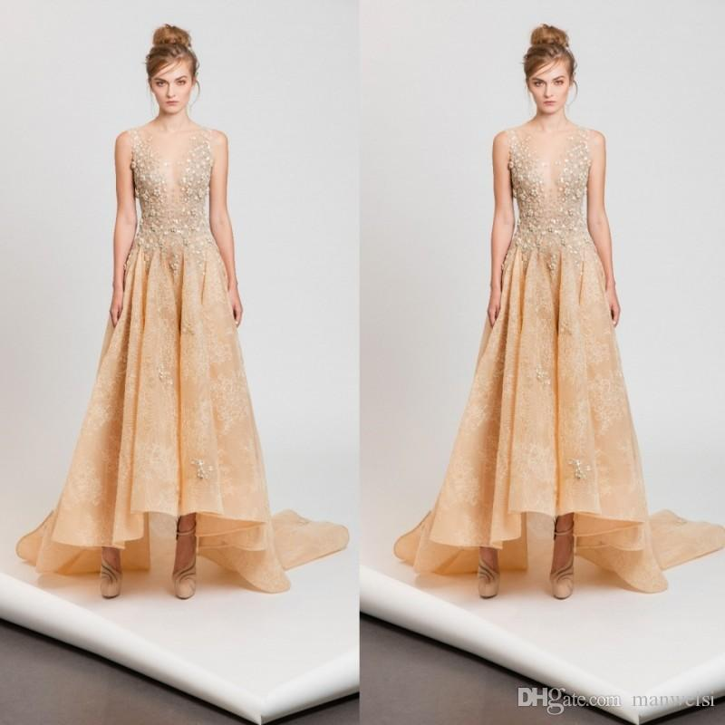 Tony Ward 2017 High Low Prom Dresses Sexy Sheer Plunging Neckline ...