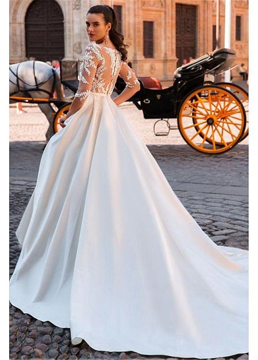 Удивительные Тюль атласная Бато декольте См-через A-Line Свадебные платья с бисером кружево аппликаций See Through длинными рукавами Свадебные платья