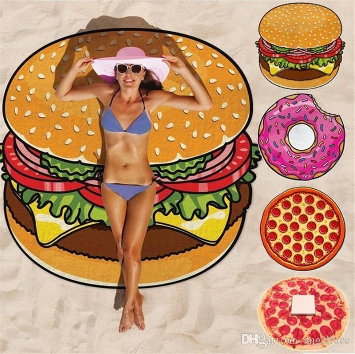 Round Beach Towel Pizza Hamburger Skull Ice Cream Strawberry Pineapple  Watermelon Beach Towels Blanket Shawl YOGA Mat Picnic Mat 14 Style Cheap Beach  Towel ... d27c852549