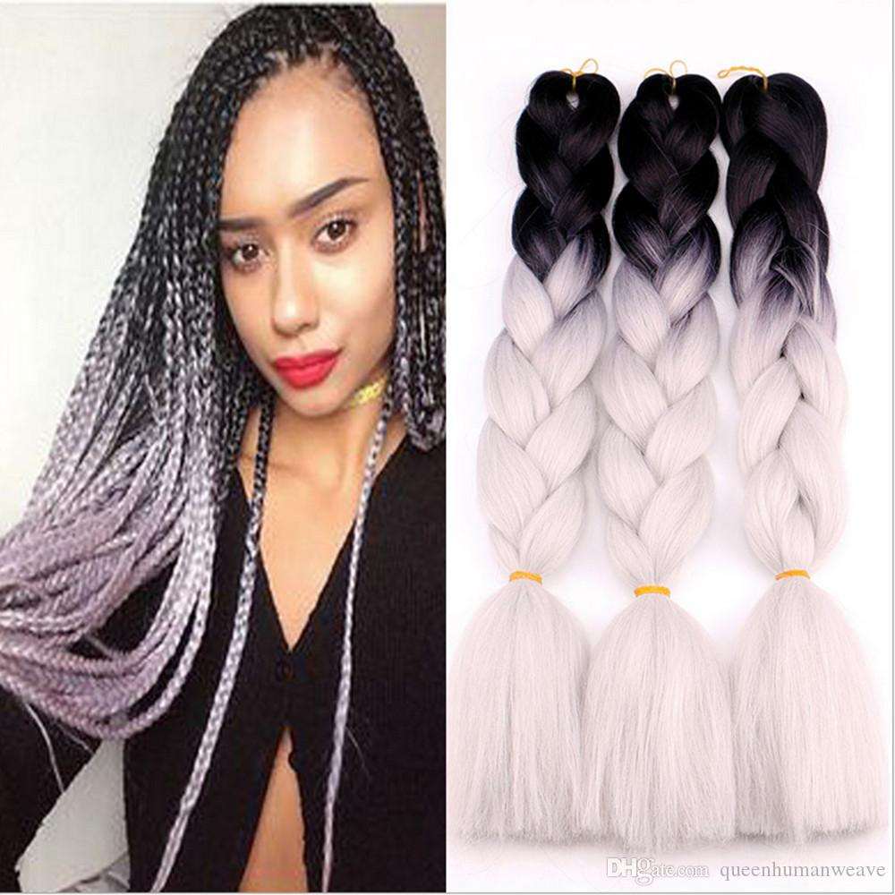 Two Tone Ombre Braiding Hair 24inch Kanekalon Jumbo Braids Fashion