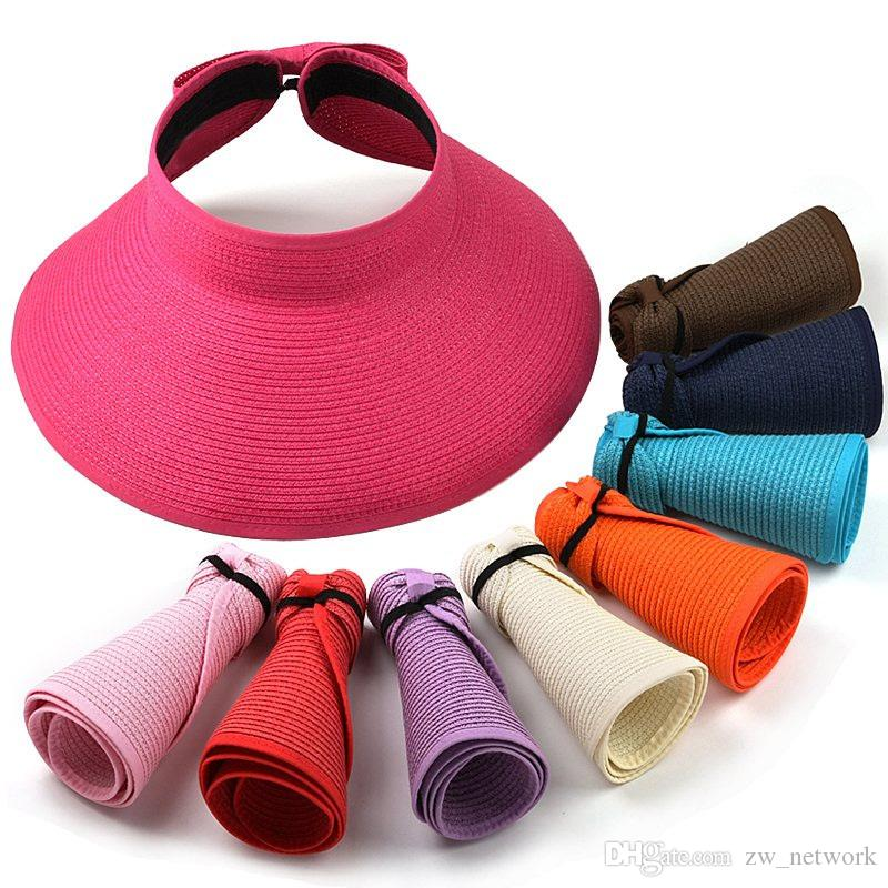 New Fashion Foldable Sun hats Women Lady Roll Up Beach vacation caps Wide Brim Straw Hat Cap empty top sun hats