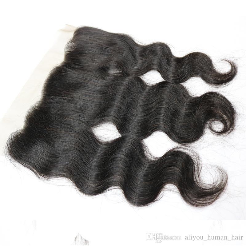 Chiusura frontale in pizzo malese corpo onda 13x4 parte libera piena del merletto frontale 100% non trasformati indiano malese vergine capelli umani tesse chiusura