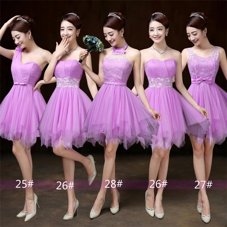 2018 New Lilac Short Bridesmaid Dresses Women Wedding Prom Party Cocktail Elegant Evening Gowns Beautiful Cheap Celebrity Dresses