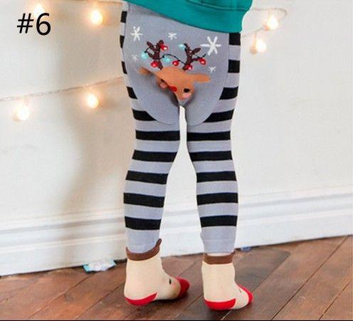 Animal Baby Tights Autumn Cartoon Stripe Boys Girls Leggings fox Penguin Deer Christmas Toddler Tight with Socks Brand Clothes C1652