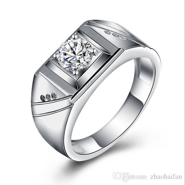 ZHF Bijoux New Argent Bijoux Blanc Or Plaqué Anneaux De Mariage Pour Hommes et Femmes CZ diamant Grands Anneaux Vintage Femme Anneaux Bijoux