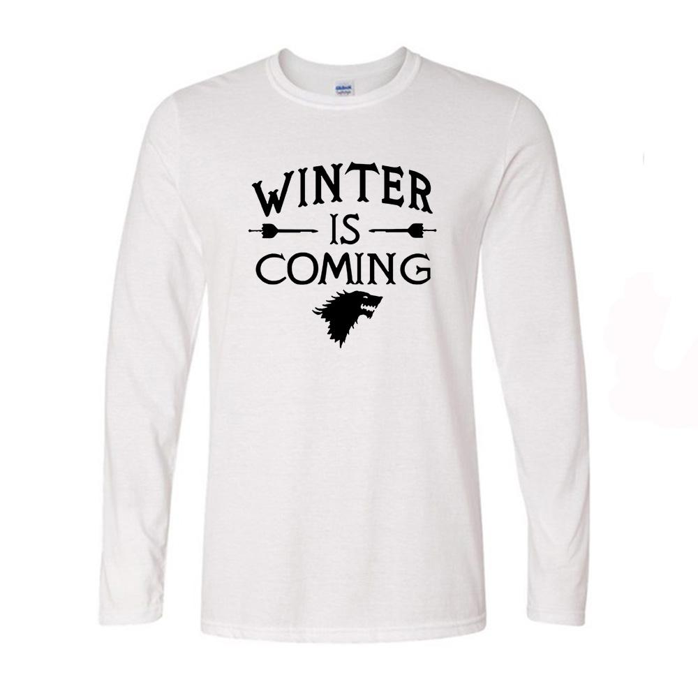 Winter Is Coming Game Of Thrones Cool Pullover Long Sleeve T Shirt Men  Autumn Brand Clothing Casual Tshirt Brand T Shirt Interesting T Shirt  Designs T ...