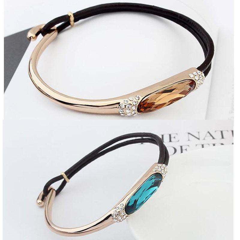 Black Leather Charm Bracelets For Women Made With Crystals from Swarovski Elements High Quality Jewelry 10506