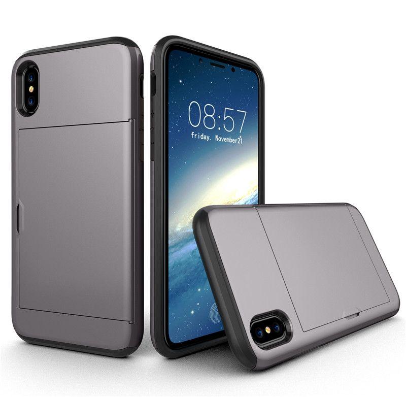 Credit card holder hybrid phone cover for apple iphone x 8 for Iphone business card holder