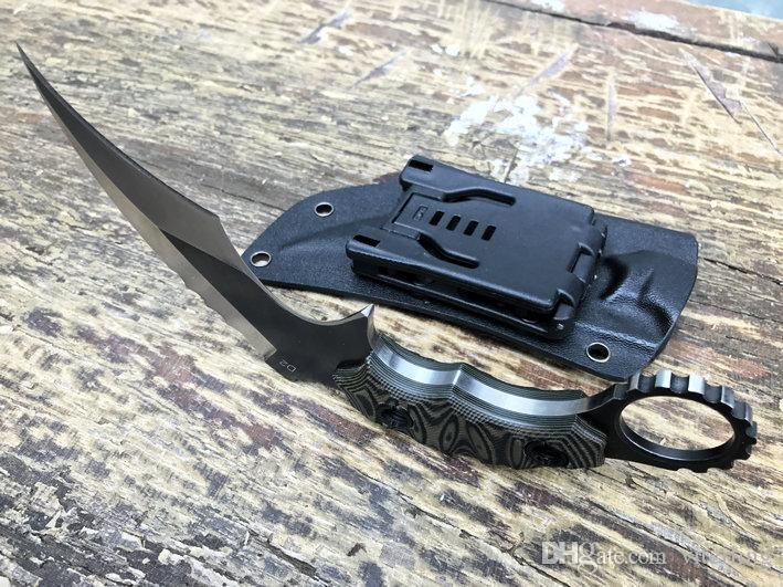 A garra pedra Karambit lavagem D2 Lâmina G10 Handle Camping ao ar livre faca TH01