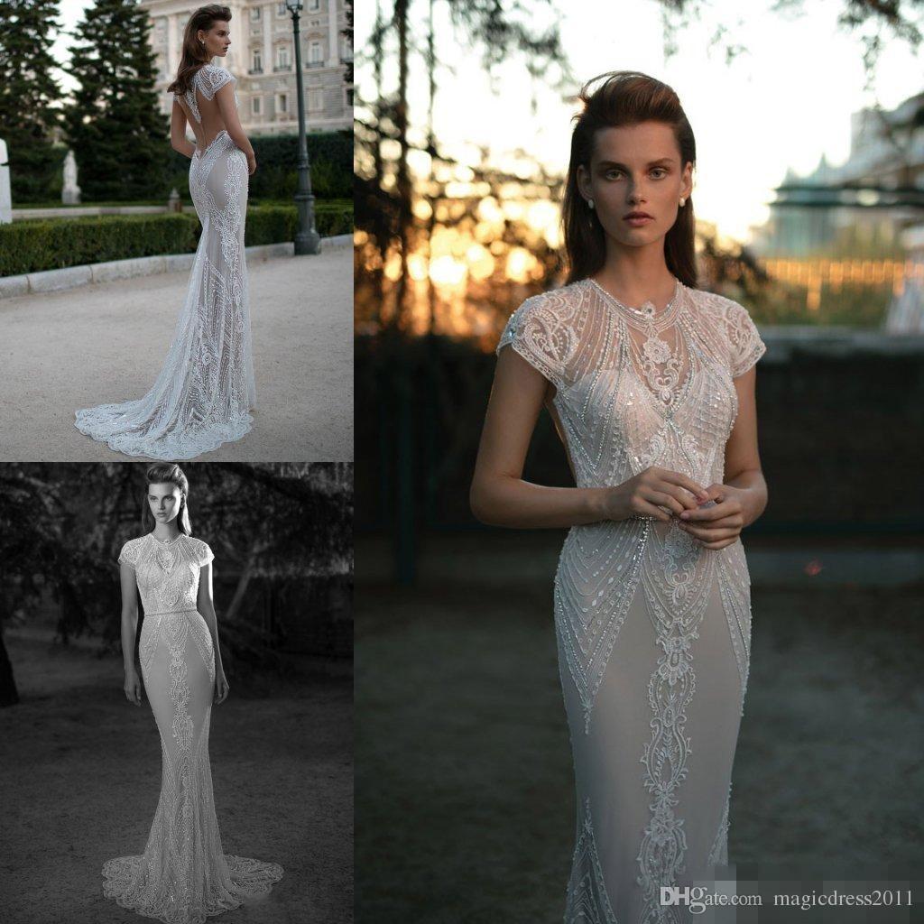Crystal Beaded Berta Bridal Wedding Dresses Appliqued Scoop Capped Sleeve Beaded Sweep Train Mermaid Wedding Gowns Custom Made