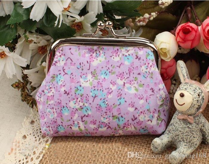 Vintage flower coin purse canvas key holder wallet hasp small gifts bag clutch handbag