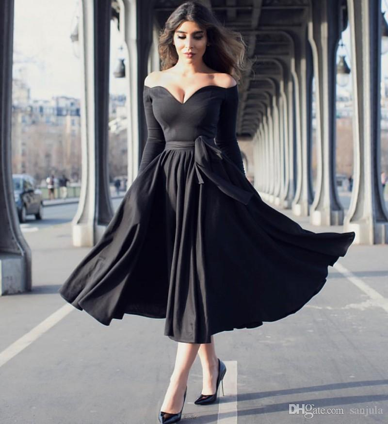 a7f0ea19fb7 Sweetheart Off Shoulder Black Evening Dress With Long Sleeves Tea Length  Party Gowns Simple Elegant Women Special Occasion Dress
