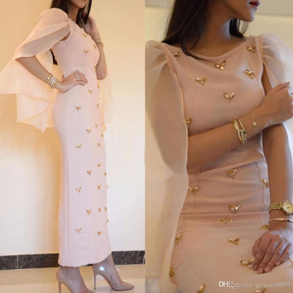 New Arrive A Line Arabic cocktail Dress Boat Neck Satin Gold Beaded Women Ankle Length Real Sample Formal prom Gown Evening Dresses