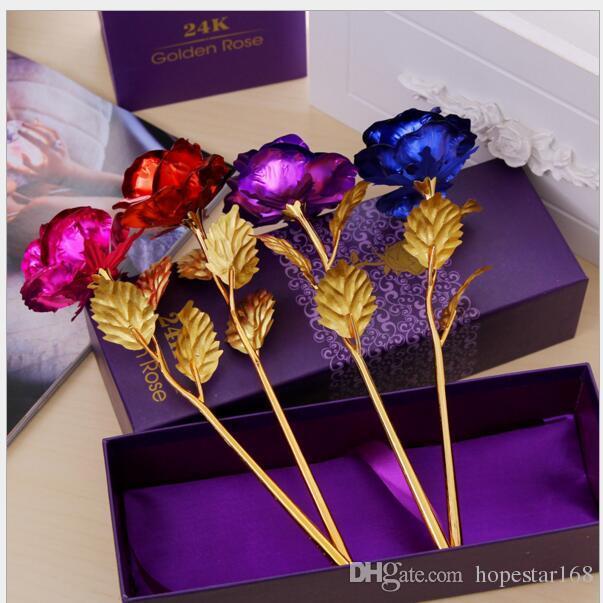 Sonnenblume kreative Geburtstag Hochzeit GIF, 24k manuelle goldene Rose Liebhaber Blume Gold getaucht Rose, künstliche Blume gemalt Dekoration