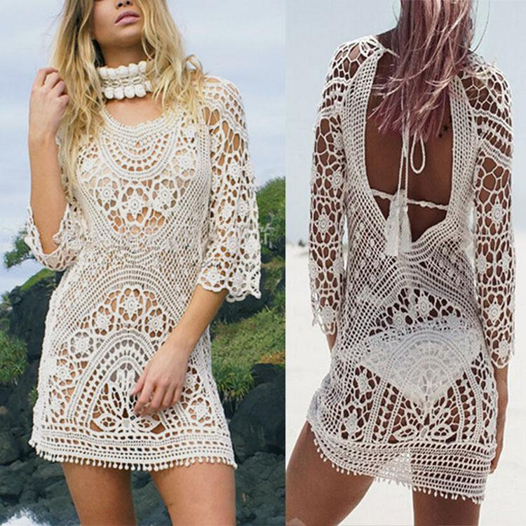 a2f595b3c1102 2019 Fashion Women Bathing Suit Lace Crochet Bikini Cover Up Swimwear Summer  Beach Dress White Boho Sexy Hollow Knit Swimsuit From Myfashionclothes, ...