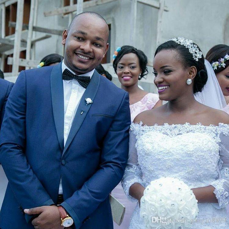 2019 sexy abiti da sposa africana africana con ruffles cappella treno al largo della spalla pizzo tulle mezza manica abiti da sposa